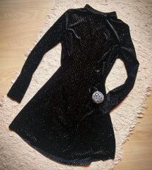 Fekete bársony ruha, ezüst csillámmal