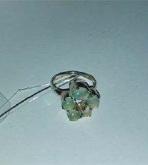 ÚJ Kalcedon gyógyító 5 köves 925 ezüst gyűrű