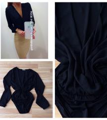 Fekete átlapolós ing body