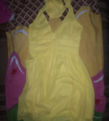 Amisu gyönyörű sárga nyakbakötős ruha