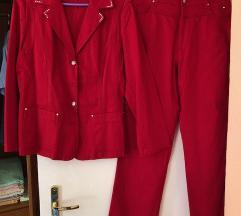 Lafeinier piros nadrágos női kosztüm alkalmi