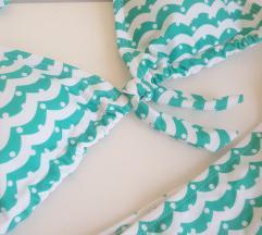 Új Bikini fürdőruha M/L zöld fehér