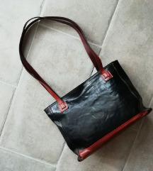 barna-fekete BŐR táska