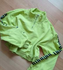 Neon zöld Crop pulcsi