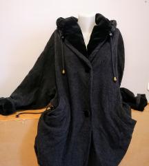 Női, szürke, bélelt, kapucnis szövet kabát, 46-os