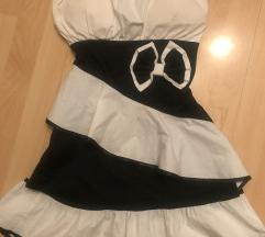 Fekete fehér fodros ruha
