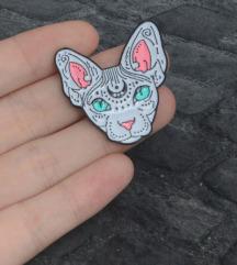 Különleges szfinksz macskafej kitűző bross