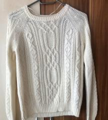 Pull&Bear krémszínű kötött pulcsi S 1000 Ft