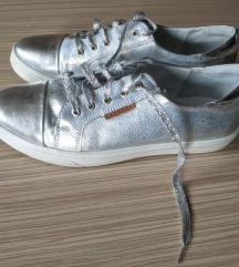 Ezüst utcai cipő - bőr felsőrész