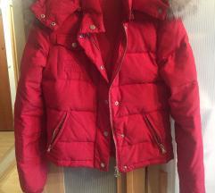 Olasz piros dzseki nyuszi szőrrel, toll béléssel