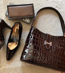 Bőr barna lakk táska cipő pénztárca szett