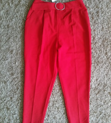 Új ASOS piros saját öves magas derekú nadrág 42