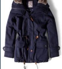 Pull&Bear szőrmés kapucnis gyapjú parka téli kabát