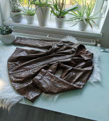 Vintage bőr hatású piton kabát oversized