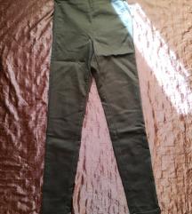 magasított derekú khaki nadrág