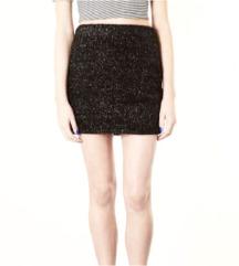 Metallic Glitter Black Furry Fluffy Skirt