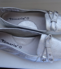 Tamaris ezüst bőr cipő mokaszin 38