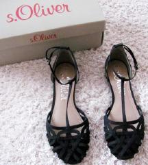 Új S Oliver fekete pántos szandál, balerina cipő