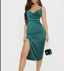 ÚJ Pretty Little Thing- Smaragd színű Midi ruha