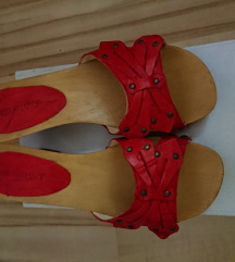 Sebastiano piros bőr alkalmi papucs új!