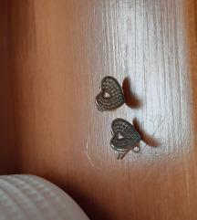 Ezüst szív fülbevaló cirkónia kövekkel