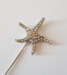 ÚJ, strasszköves csillag alakú bross / kitűző