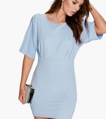 Cimkés kék Boohoo ruha, katalógusfotóval