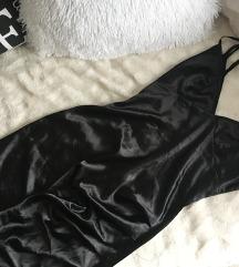 Pretty Little Thing fekete szatén ruha S