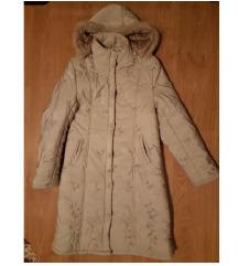 Gyönyörű krém virágos téli kabát L-XL