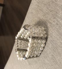 Gumis stasszos fehér ezüst karkötő