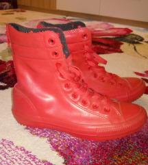 Converse piros bőr magasszárú cipő!