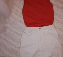 Fehér farmer szoknya/Tégla színű ujjatlan