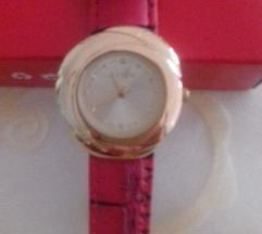 Piros bőr szíjjas, arany, új óra