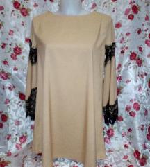 Új karamel, fekete csipkés ruha S méret