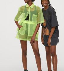 H&m neonsárga áttetsző organza ing és sort szett