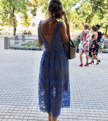 Bohoo áttetsző csipke midi ruha kék- béléses