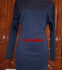 Új sötét kék,egyszerű lezser mini ruha