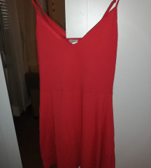 Piros spagettipántos nyári ruha