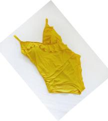 ❤ Új alakformáló fodros napsárga H&M fürdőruha