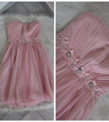Gyönyörű pasztell köves tüllős alkalmi ruha