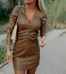 Zara barna műbőr ruha új XS