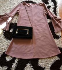 Rozsaszin fodros ruha