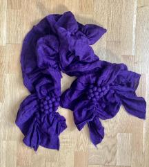 Cottonfield nagy dekoratív női lila sál fodros