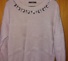 Rózsaszín gyöngyös pulóver
