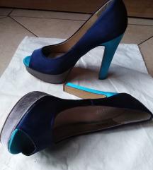 Platform magassarkú cipő, kék, szürke