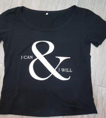 Fekete, feliratos póló, M
