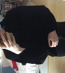 Zara fekete bársony kapucnis rövidített pulóver