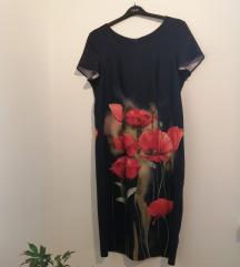 Pipacsos kényelmes elasztikus ruha 44-es
