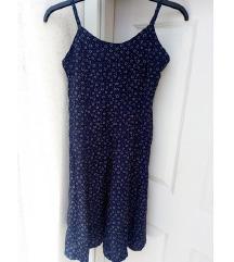 Vintage sötétkék mintás ruha S/XS