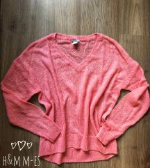 Kötött H&M pillecukor színű pulóver